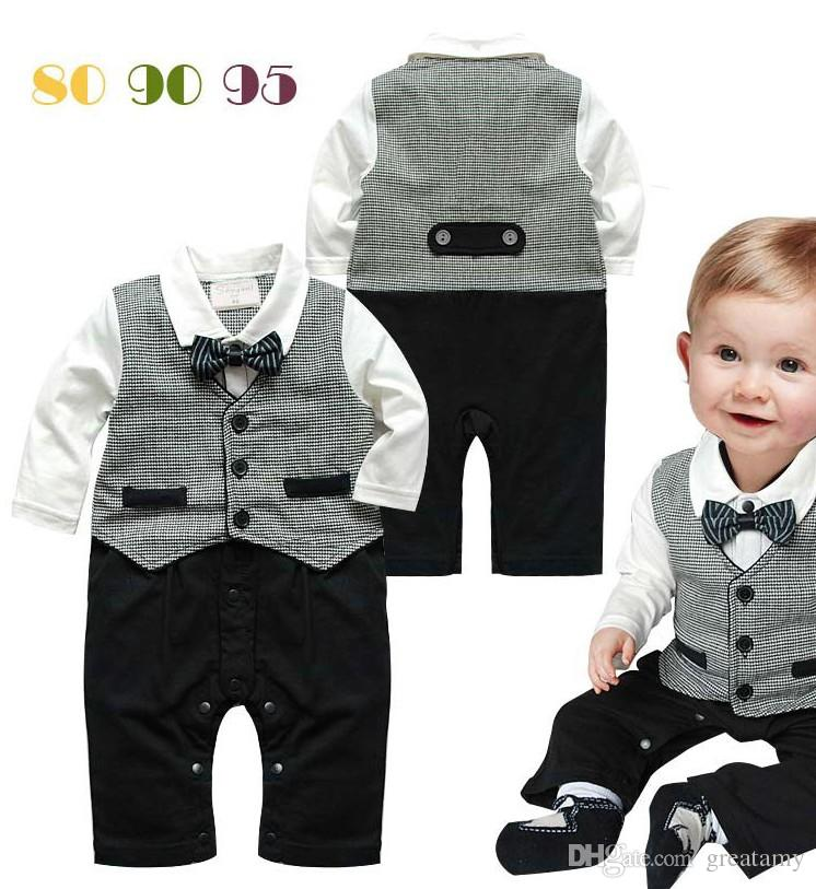 Long sleeve baby rompers with tie spring autumn baby boy gentleman romper infant one-piece formal jumpsuit toddler clothing