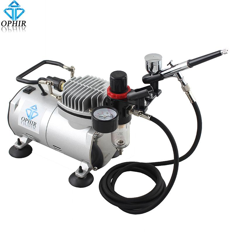OPHIR Dual-Action Airbrush Kit with 110V 220V Air Compressor Filter Holder  for Body Paint Airbrushing Hobby Makeup Set_AC089 004