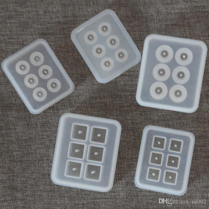 구멍이있는 정사각형 실리콘 비드 금형 수제 케이크 장식 도구 라운드 수지 DIY 손 공예 보석 목걸이 펜던트 금형 2 6 YY 만들기