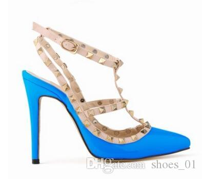 2017 Frauen hohe Absätze Party Mode Nieten Mädchen sexy spitze Schuhe Tanzschuhe Hochzeit Schuhe Doppelriemen-Sandalen