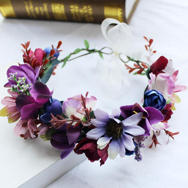 Compre Mujeres Dama Chica Accesorios Para El Cabello Púrpura Diadema  Bohemia Corona De La Flor Corona De La Boda Nupcial Headwear Hermosa  Garland S919 A ... 7bb8a55e16e2
