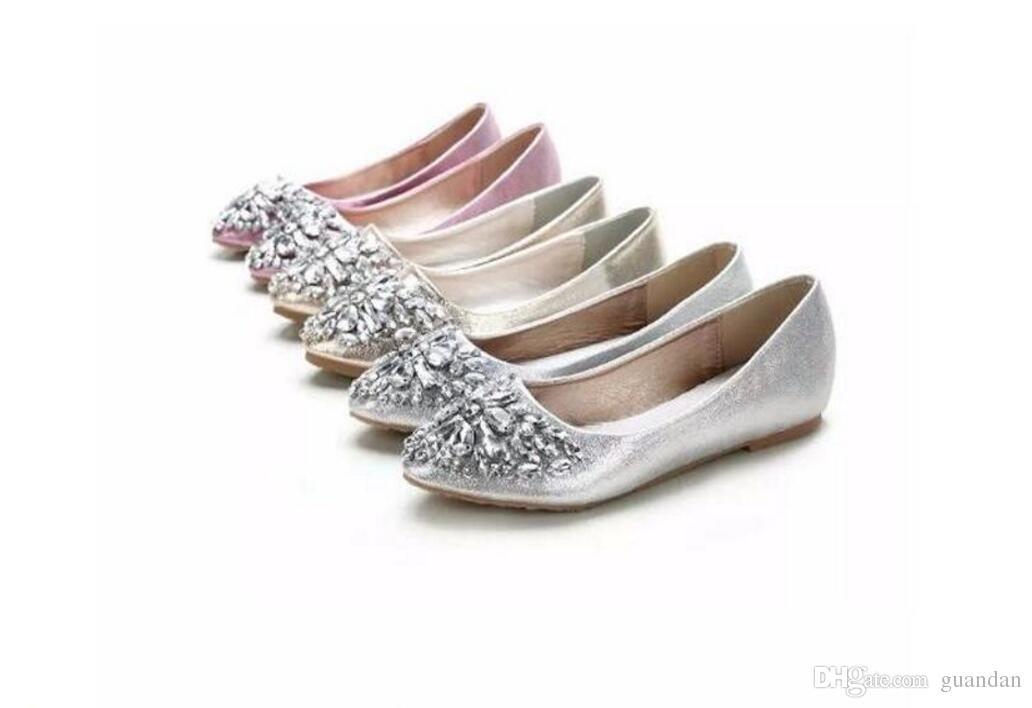 Yeni 2018 Bahar Yeni Kadın Gümüş Altın Taklidi Kap Ayak Bezeme Düz Metalik Ayakkabı Kadın Flats 1NX19