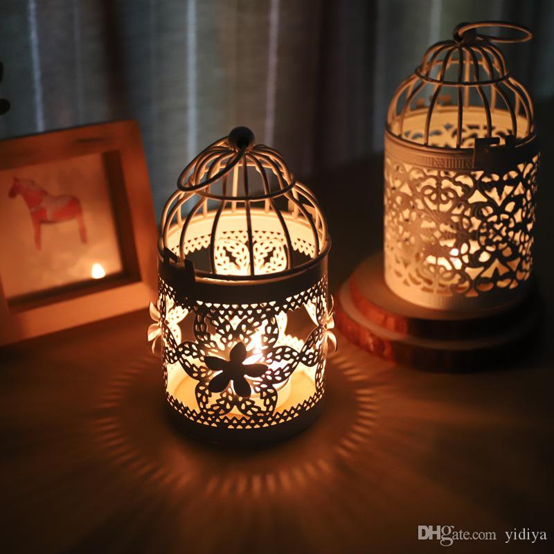 handmade iron birdcage candle holder bird vintage hanging lanterns candlestick crafts dinner table ornaments wedding christmas party decor glass and metal