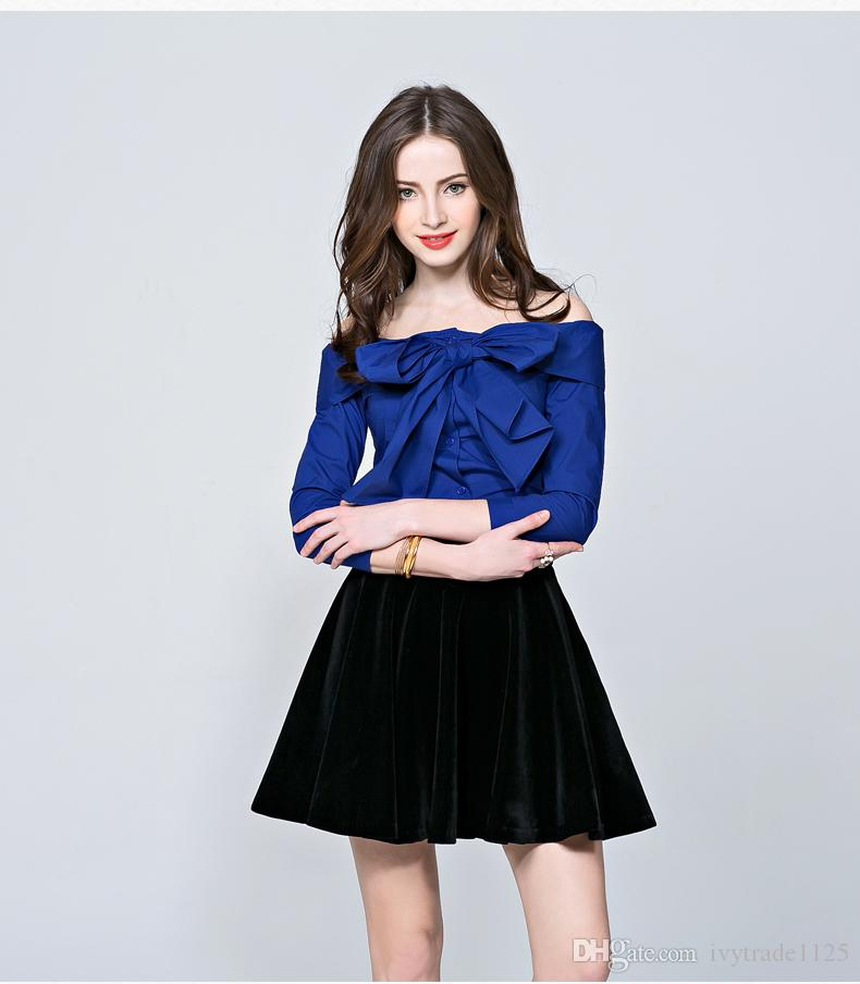 ad006d05a80 2019 High Quality Off Shoulder Blouse Sexy Women Boat Neck Shirt Casual  Blouse European Style Party Clothes Long Sleeves New Design From  Ivytrade1125