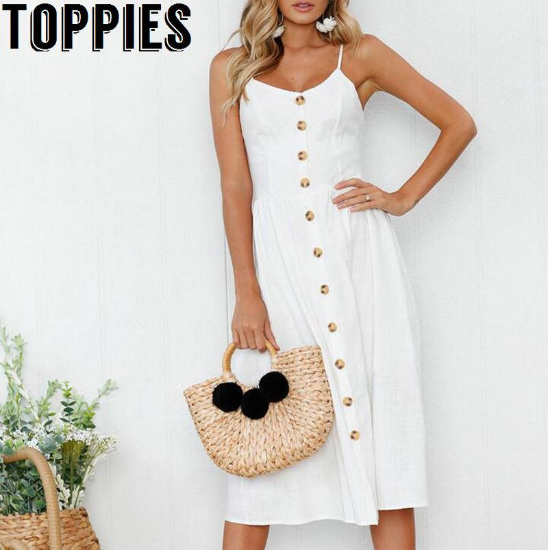 7acb8ad518a Toppies Women Summer Vintage Midi Dress White Black Dress With Buttons  Sleeveless Beach Teenage Party Dress Casual Evening Dress From Elizabethy