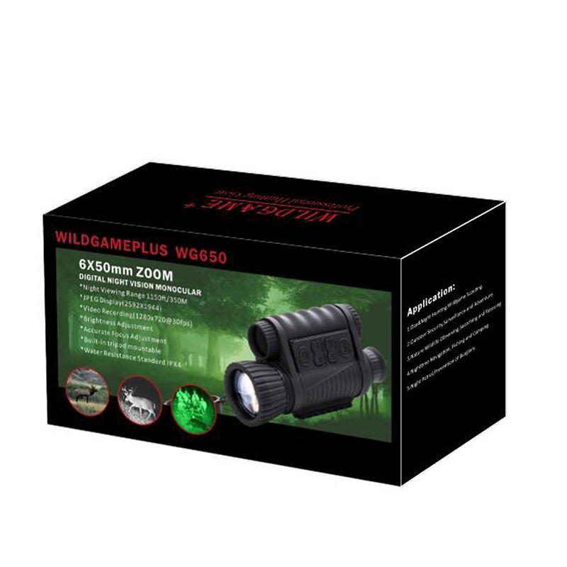 Wg650 nattjakt digital optik infraröd 6x50 natt vision monokulär 200m range natt vision teleskop bild och video