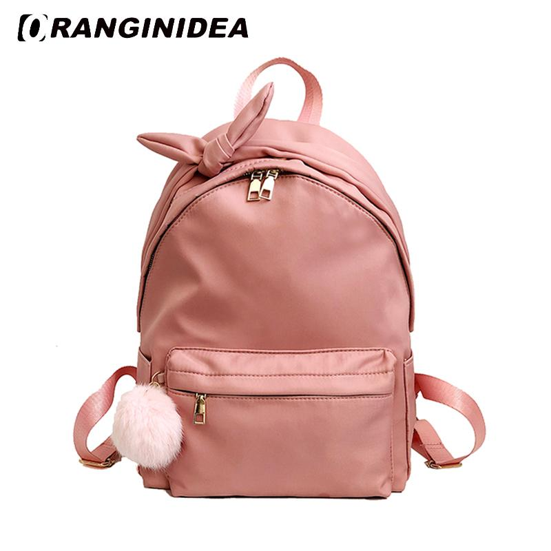 acb123602632 Women Backpacks Nylon School Bag For Teenager Girls Female Travel Rucksack  Cute Bowknot Pink Bagpack Lady Casual Backpack Book Bags Herschel Backpacks  From ...