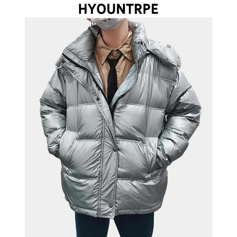 d2e1ed5083e 2019 Silver Bright Jacket Coat Mens Winter Warm Down Cotton Padded Loose  Parkas Hip Hop New Autumn Fashion Bomber Hooded Outerwear From Tayler