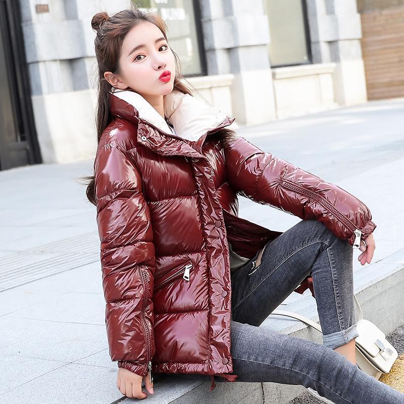 Acheter NIJIUDING 2018 Nouvelle Mode Métal Solide Noir Rouge Lumineux Vestes  Manteaux Hiver Femmes Warm Down Coton Rembourré Longues Parkas Outwear ... 7621473a4a4