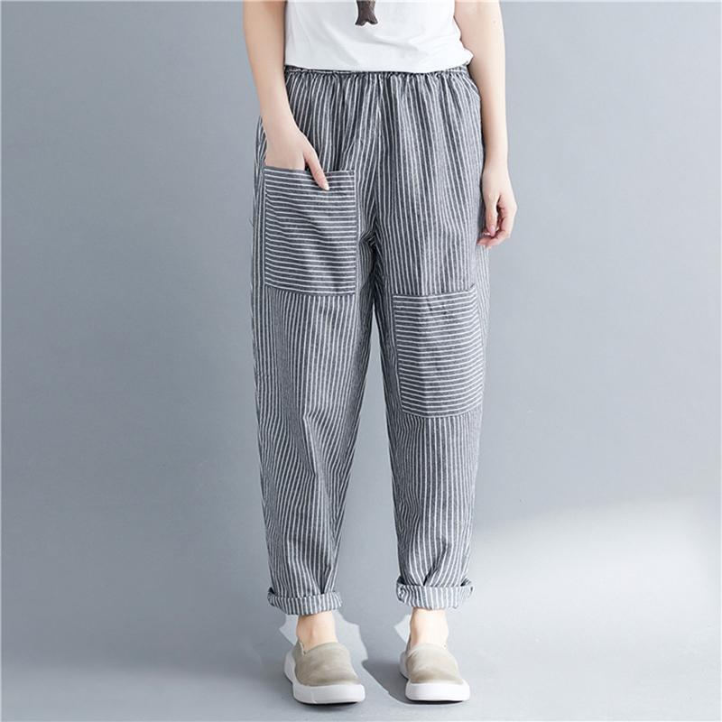 Compre GAOKE Mujer 2018 Línea De Línea De Algodón Y Lino Pantalones Harem  Cintura Elástica Vintage Suelta Pantalones A Rayas Ocasionales A  29.55 Del  ... f873f71b8290