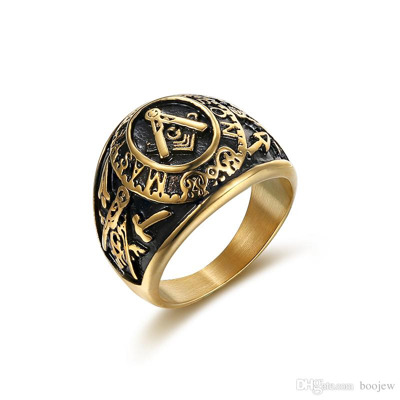Size 7-15 316L Stainless Steel Vintage Punk Master Mason Freemason Wedding Band Rock Finger Ring for Man Jewelry