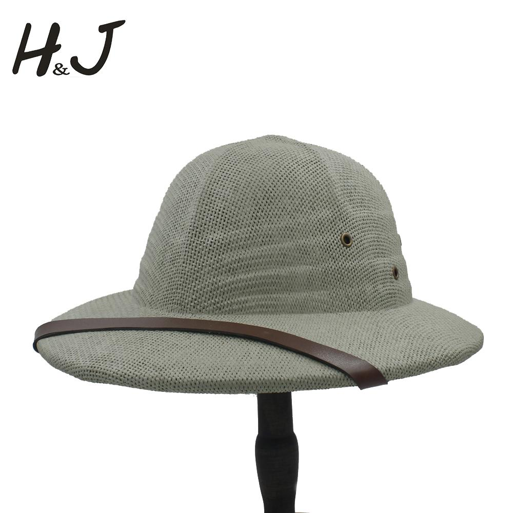 4b195eed3f07b 100% Toquilla Straw Helmet Pith Bucket Hats For Men Vietnam War Army Hat  Dad Boater Summer Sun Hats Safari Jungle Miners Cap Sun Hats Sun Hat From  Heathere