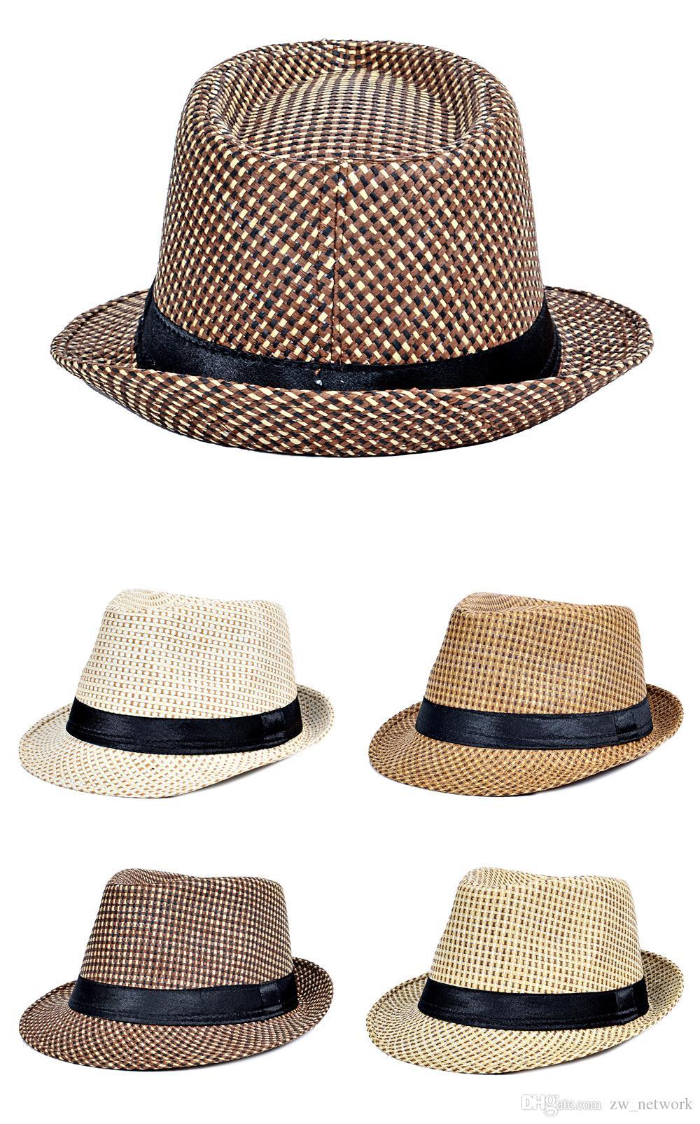 Compre Hot Fashion Jazz Sombreros De Paja Para Hombres Panamá Tejidos  Sombreros De Ala Ancha Sol Sombreros Hombres Cool Jazz Top Gorras A  2.85  Del ... a372a15abbd0
