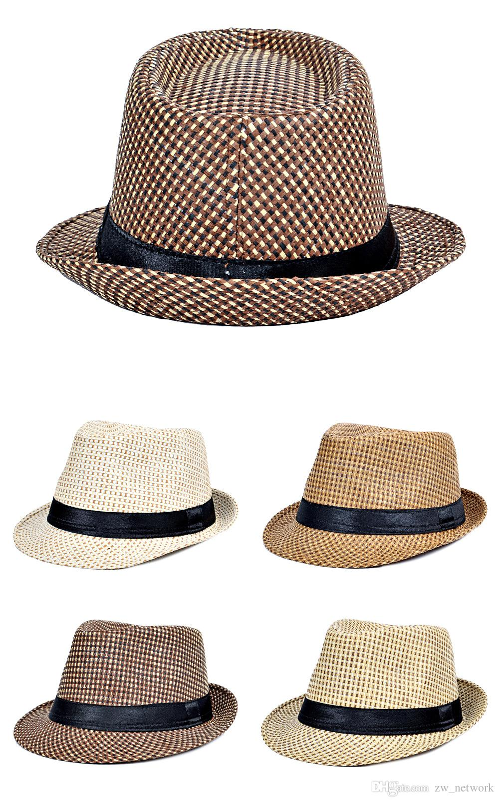 bb55c669904 Hot Fashion Jazz Straw Hats For Men Panama Woven Hats Wide Brim Sun Hats  Cool Men Jazz Top Caps Kids Hats Wide Brim Hat From Zw network
