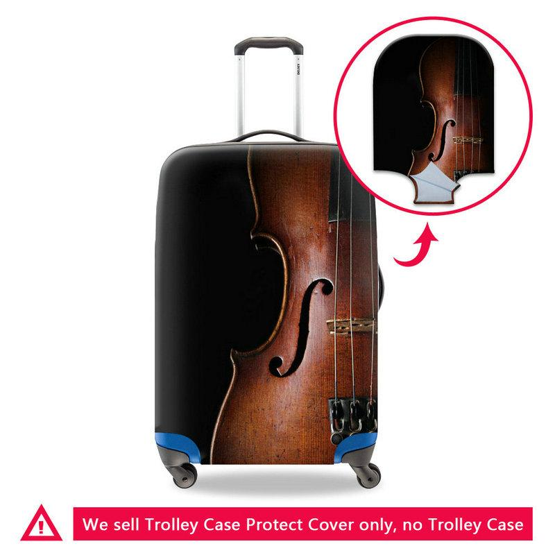 Cool Black Violin Print Luggage Protective Covers Apply To 18-30 Inch Case Excellent Elastic Stretch Suitcase Cover Fashion Travel Accessory