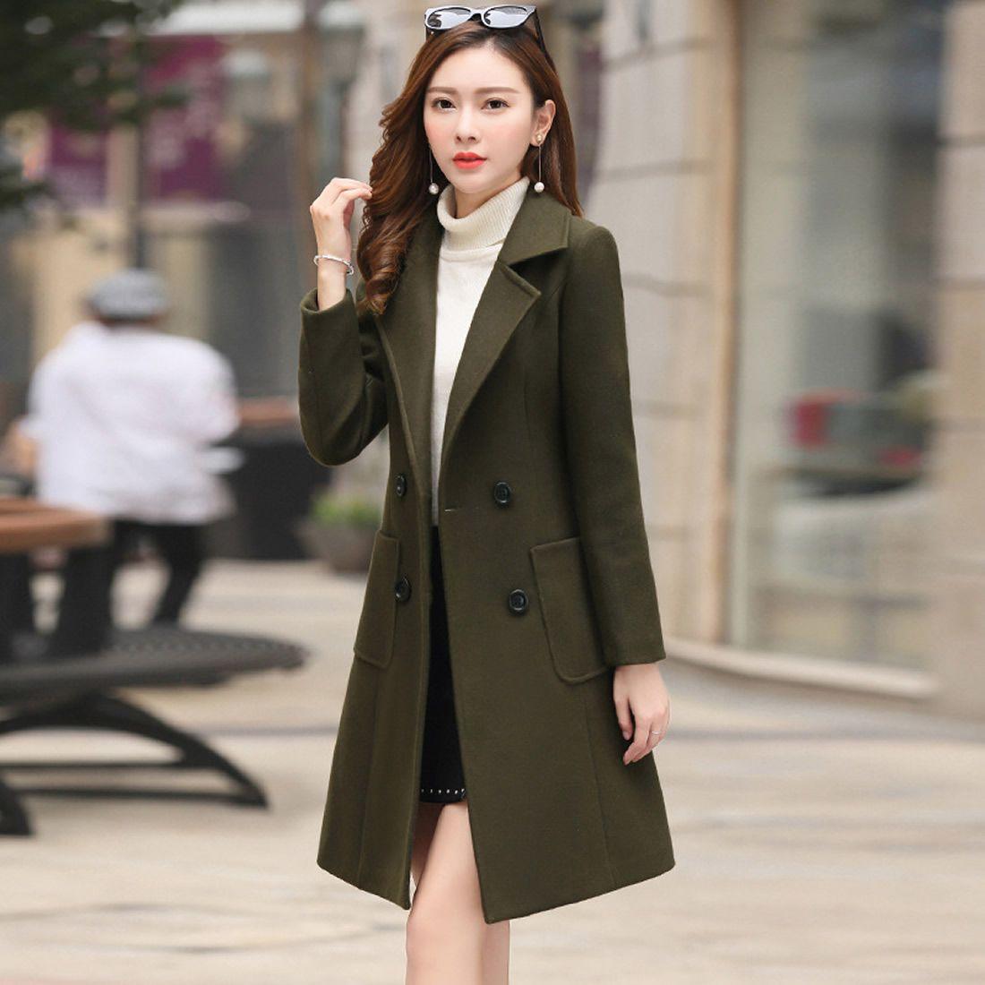 063fd2d77e39c7 Großhandel Herbst Winter Frau Wolle Mäntel 2018 Mode Casaco Feminino Frauen  Jacke Khaki Armee / Grün Plus Größe Outwear 3xl 4xl Mantel Von Meinuo110,  ...