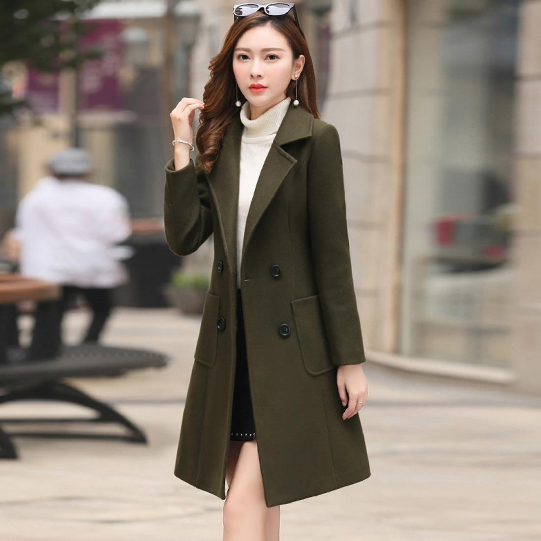 68ea29e78 Compre Outono Inverno Mulher Casacos De Lã 2018 Moda Casaco Feminino  Mulheres Jaqueta Cáqui Exército   Verde Plus Size Outwear 3xl 4xl Sobretudo  De ...