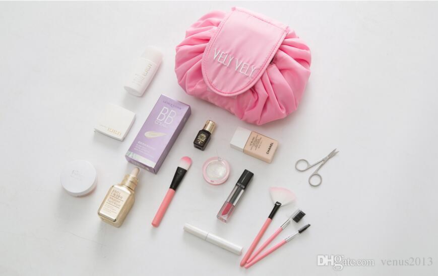 4 ألوان Vely Vely الرباط حقيبة مستحضرات التجميل السفر قدرة كبيرة المحمولة كسول حقائب التجميل البوليستر المكياج الحقيبة