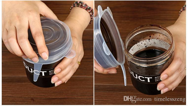 6 UNIDS / SET Silicona Estiramiento Succión Pot Tapas Reutilizables Frescas Mantener Envoltura Sellado Universal Tapa Cubre tapa Tapón Cubierta Herramientas de cocina