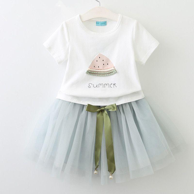 New Kids sets 100%Cotton short sleeve watermelon t shirt and tutu skirt kids set causal summer girl kids clothing