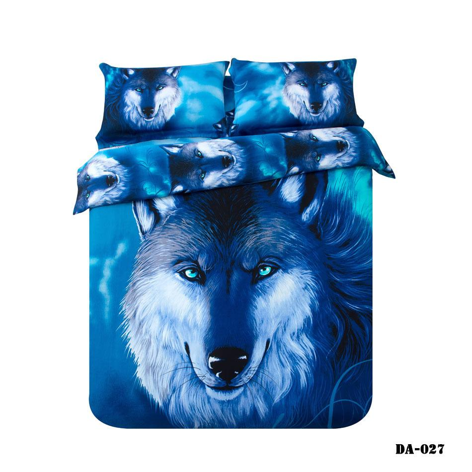 3  100% Organic Cotton 3d Wolf Print Bed Sheets California King Bedding Set  Blue Animal Wolf Bed Linen Fitted Sheet Set Bedding Set Blue California King  ...