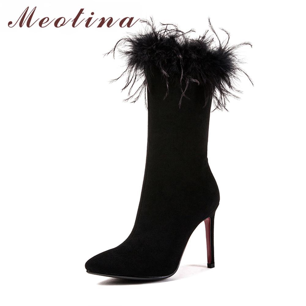 37c775155 Meotina Botas a media pierna de invierno Botas Mujeres Piel real Fondo rojo  Tacones altos Tacones altos delgados Cremallera Zapatos de mujer Gris ...