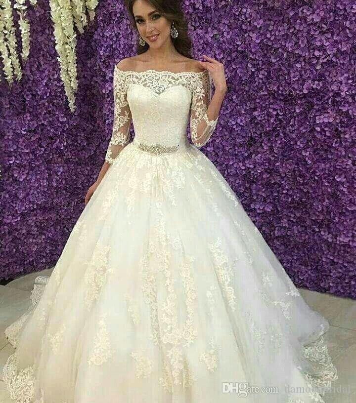 Discount Beaded Lace Wedding Bridal Dress Off Shoulder 3/4 Sleeves A ...