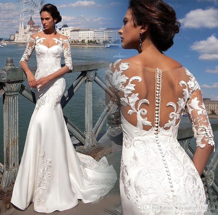 Beach Mermaid Wedding Dresses 2019 Illusion Crew Neck Lace