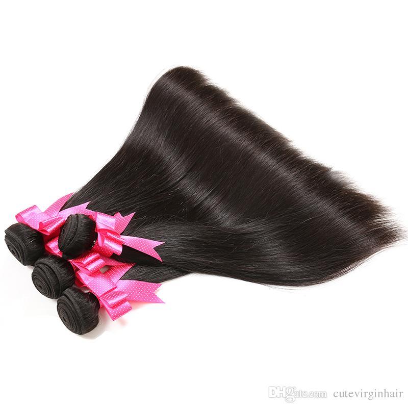 Brazylijski Proste Dziewicze Włosy Splot 4 Wiązki 100% Nieprzetworzone Brazylijski Ludzki Przedłużający Włosy Sprzedawcy 100G / Szkolek Mieszaj długość 16-30 cal