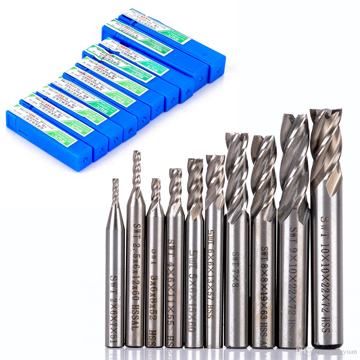 10pcs/set 2-10mm End Mill Set HSS 4 Blades Flute Milling Cutter Router Bit CNC Mill Drill Bit For Power Tools