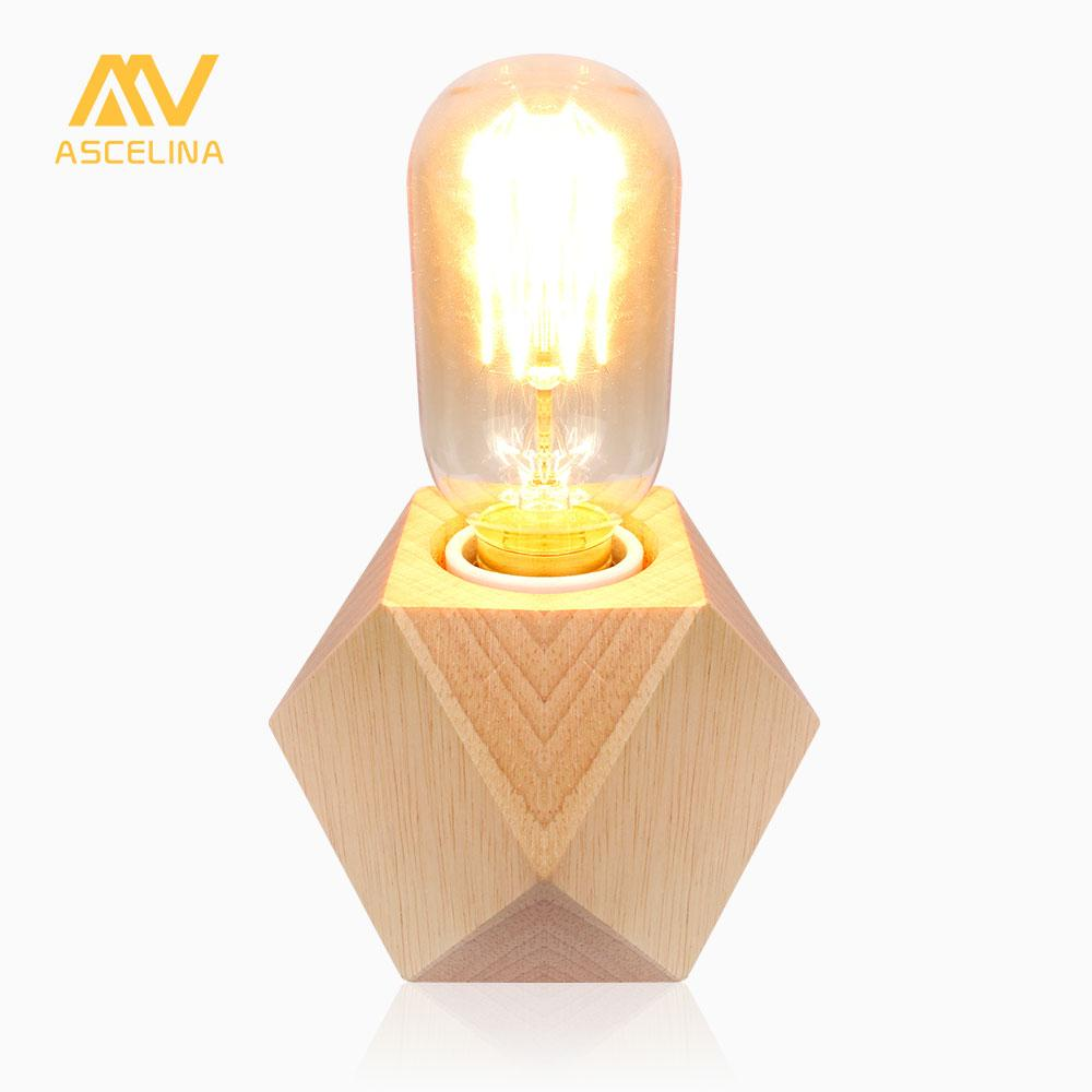 ASCELINA wooden table lamp wooden led light mini desk Lamp reading Light for Table and offices Button/Dimmer Switch e27 85-260V