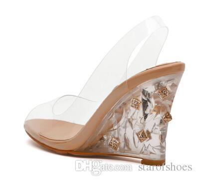 2018 Frauen Keil Sandalen PVC Sandalen Mit Transparenten Ferse Hochzeit Schuhe Kristallklare High Heels Peep Toe Pumps