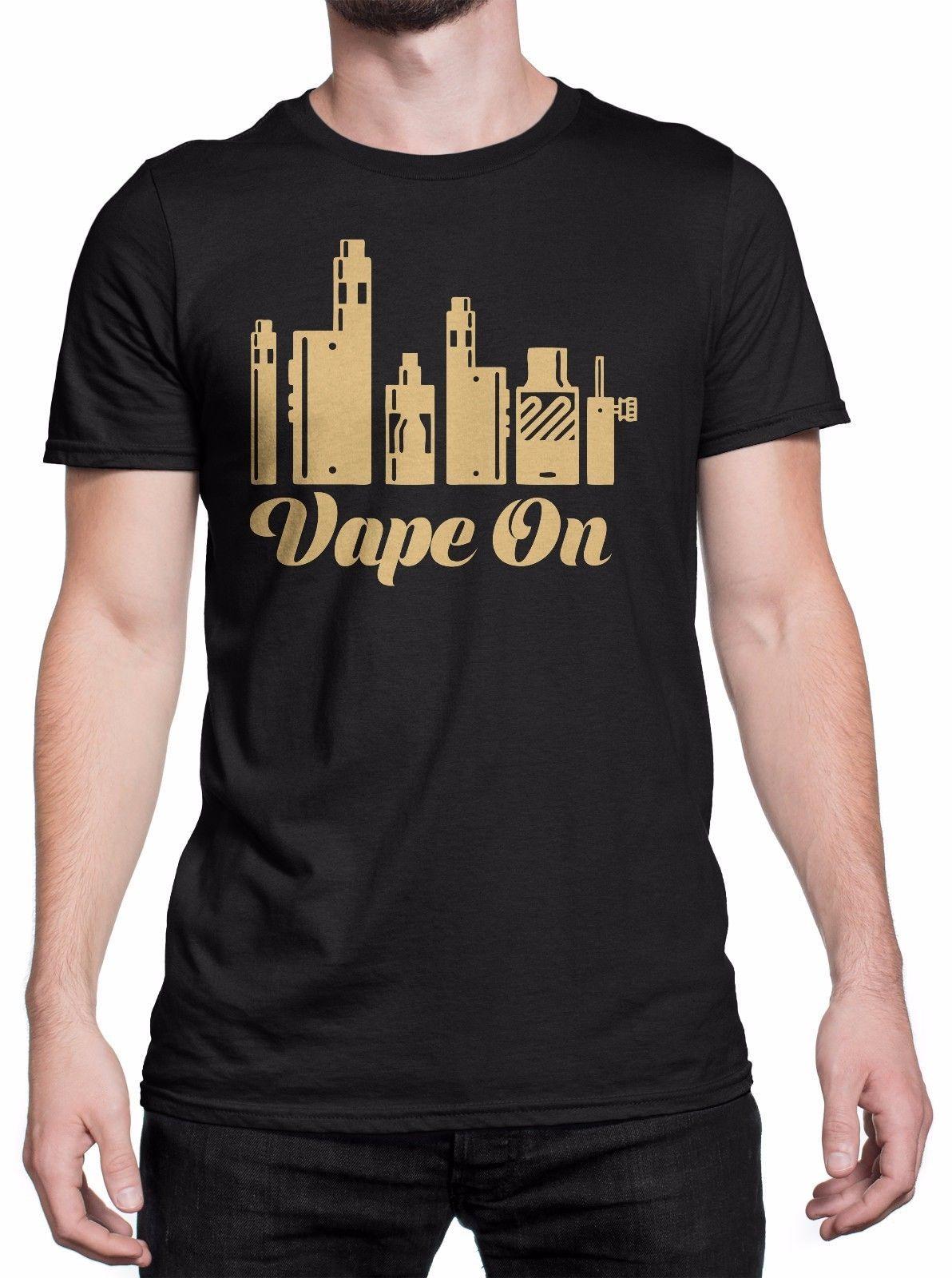 T Shirt Uomo Vape On Gold Print Maglietta 100 Cotone Nero Shopping