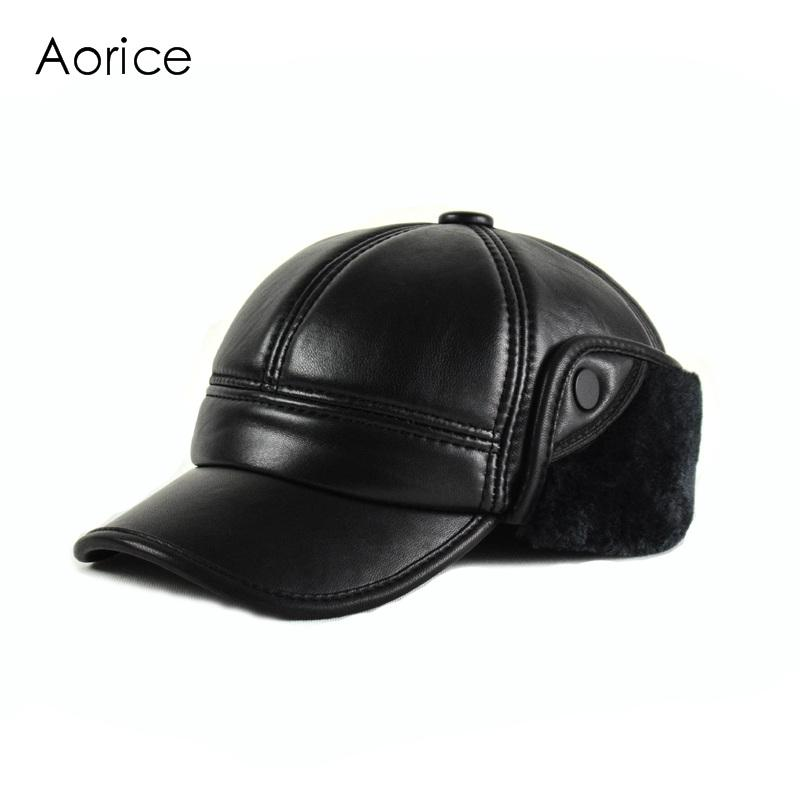 HL165 F Genuine Leather Baseball Cap Hat Men s Winter Brand New Cow Skin  Leather Sport Hats Caps Black With Faux Fur Inside Cool Caps Flat Brim Hats  From ... d8748689e213
