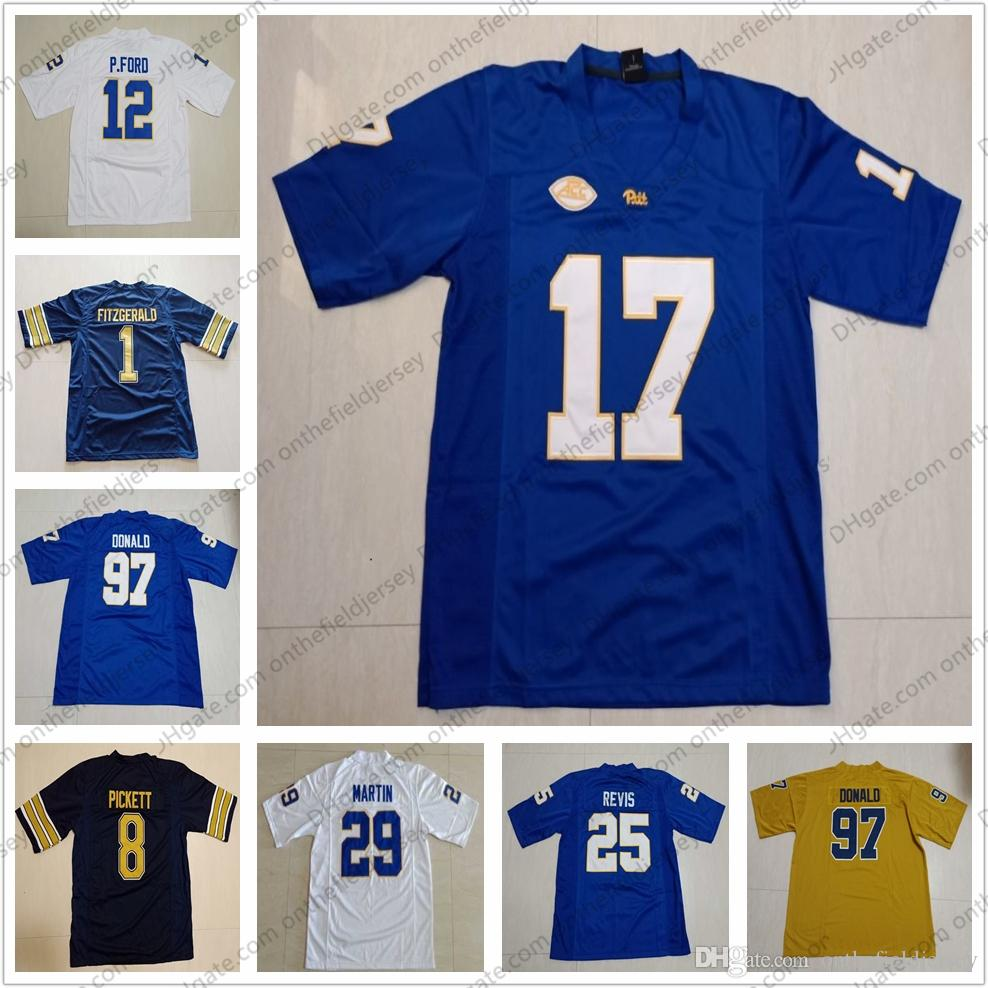 2019 Pittsburgh Panthers Pitt NCAA  17 Rashad Weaver 82 Rafael Araujo Lopes  44 Elias Reynolds White Blue Gold College Football Jerseys S 3XL From ... 9739e5127