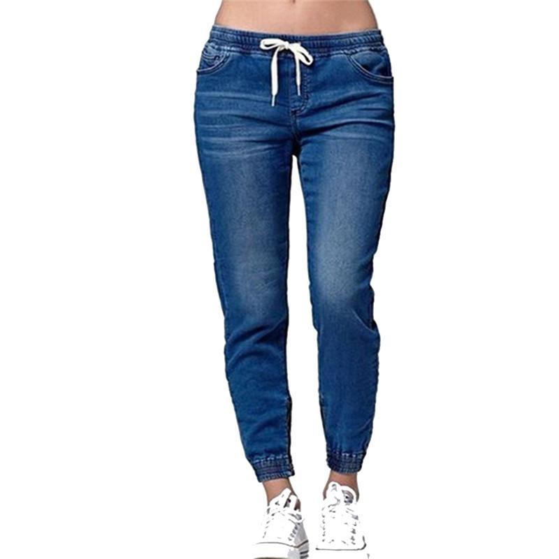 98266e0f270aa Drawstring Loose Jeans Pants Lace-up Ladies Fashion Harem Stretch Jeans  Denim Trousers Long Pants Women Pure Color Jeans Cheap Jeans Drawstring  Loose Jeans ...
