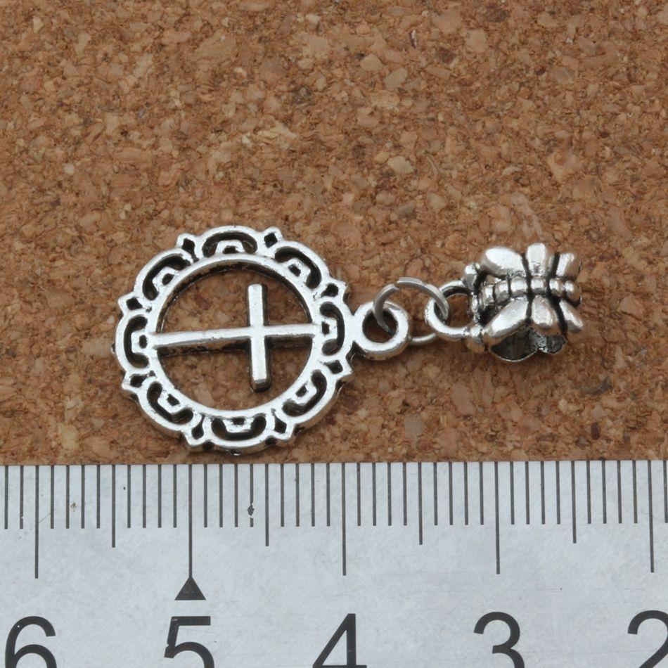 100 adet / grup Dangle Antik gümüş Açık çiçek daire çapraz Charm Big Hole Boncuk Fit Avrupa Charm Bilezik Takı 16x32