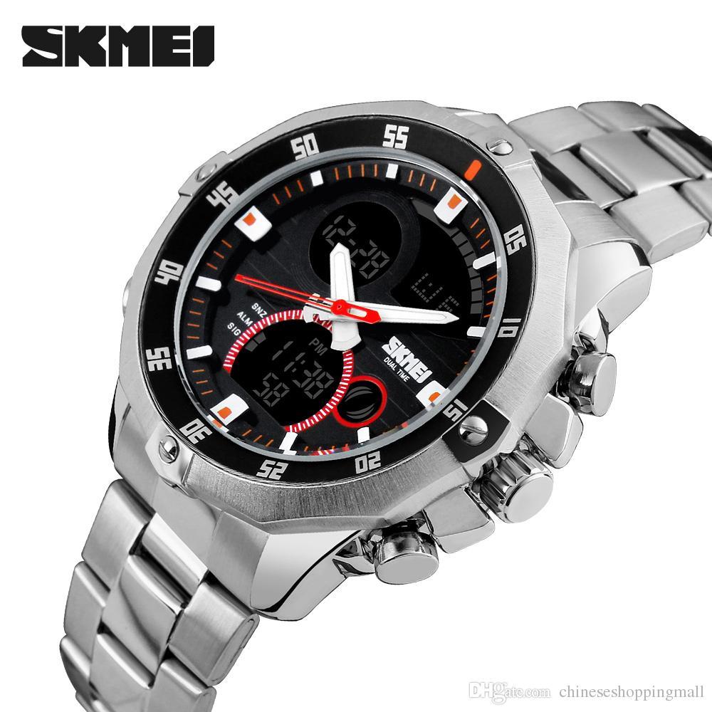 SKMEI Luxury Brand Men Digital Quartz Stainless Watch Military Sports  Watches Waterproof Wristwatch  de66ddb9fc