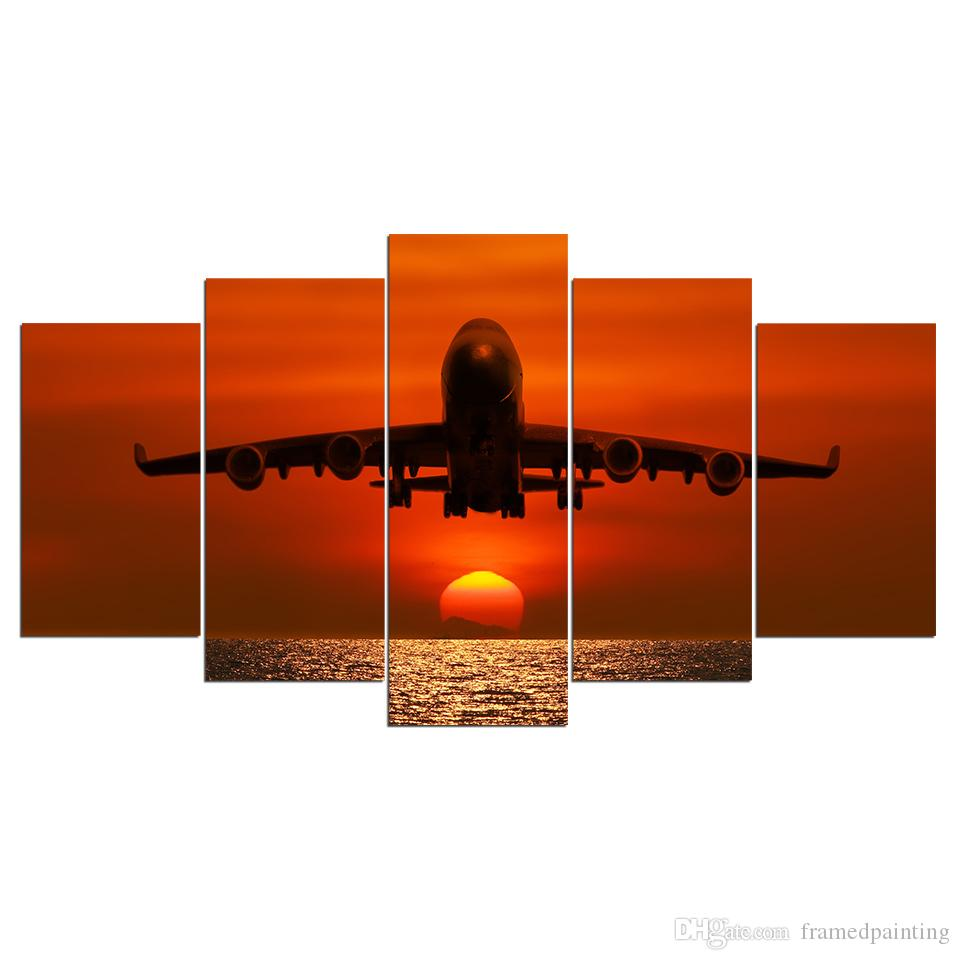 HD Printed Canvas Art Painting Sunset Airplane Sunset Wall Pictures For Living Room