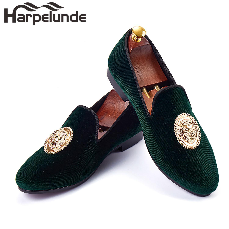 b99ba420745 Harpelunde Animal Buckle Men Formal Shoes Green Velvet Loafer Shoes ...