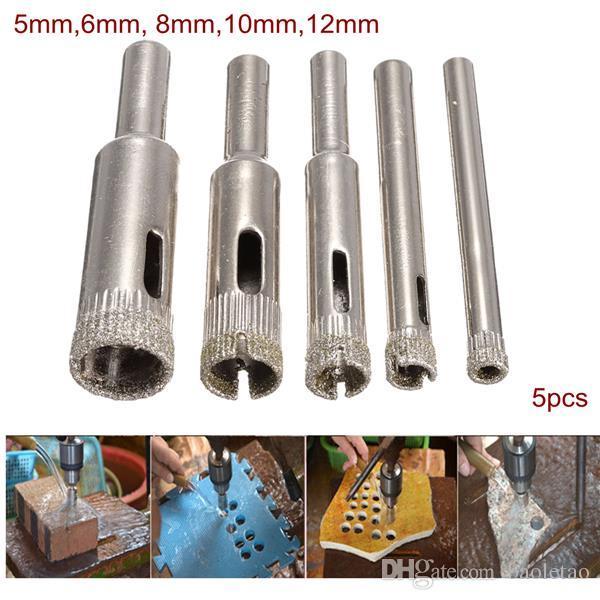 Diamond Hole Saw Drill Bit Set 5/6/8/10/12mm Tile Ceramic Glass Porcelain Marble Hole Saw