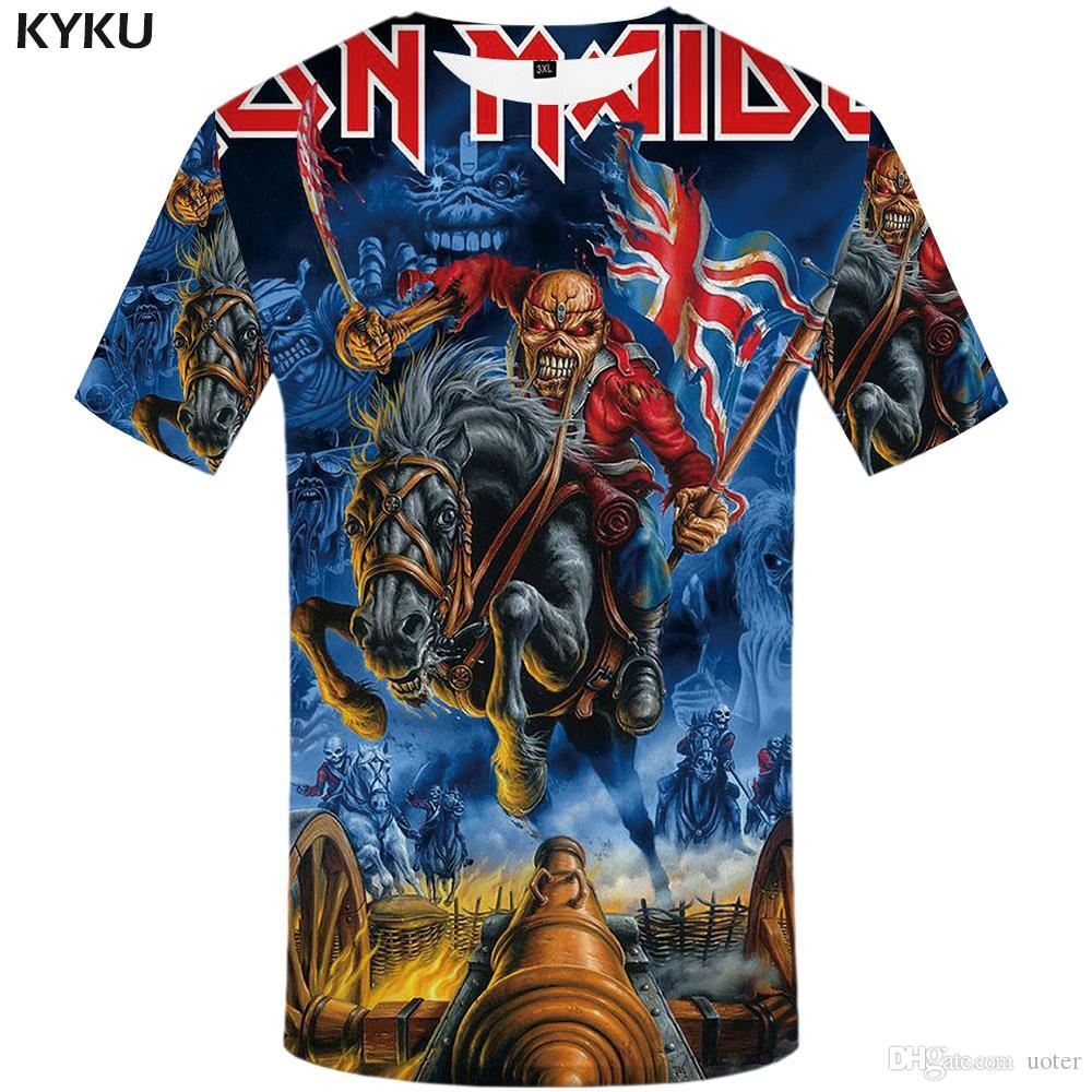 757ef1b01 Compre KYKU Marca Iron Maiden T Shirt Reino Unido Camiseta Guerra Camiseta  Artillería Camiseta Cráneo Ropa 3d Camiseta Hombres Ropa Gótica A  29.37  Del ...