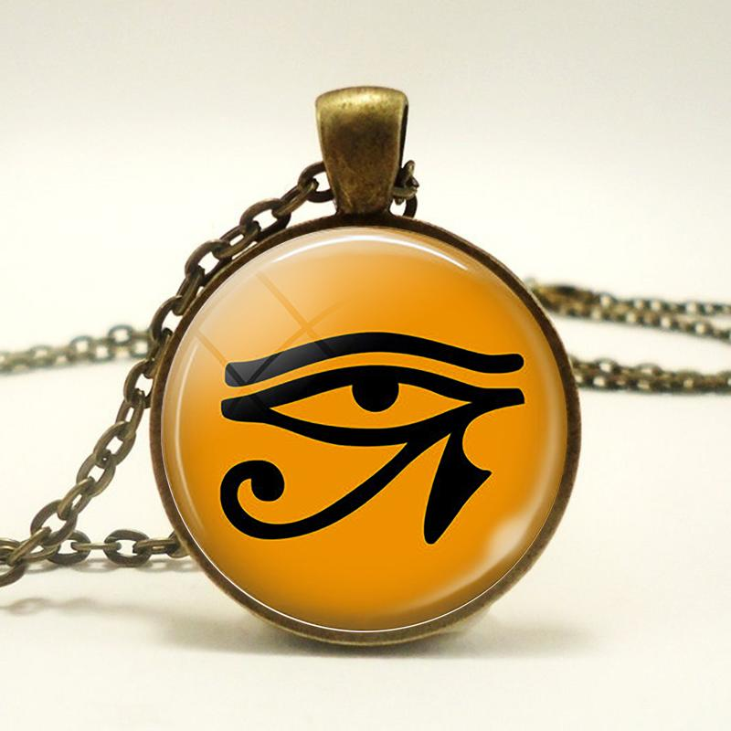 Ancient Egypt Eye Necklace Charm Eye Fashion Accessories Glass Cabochon Pendant Choker Chain Necklace Men Women Lovers Gift
