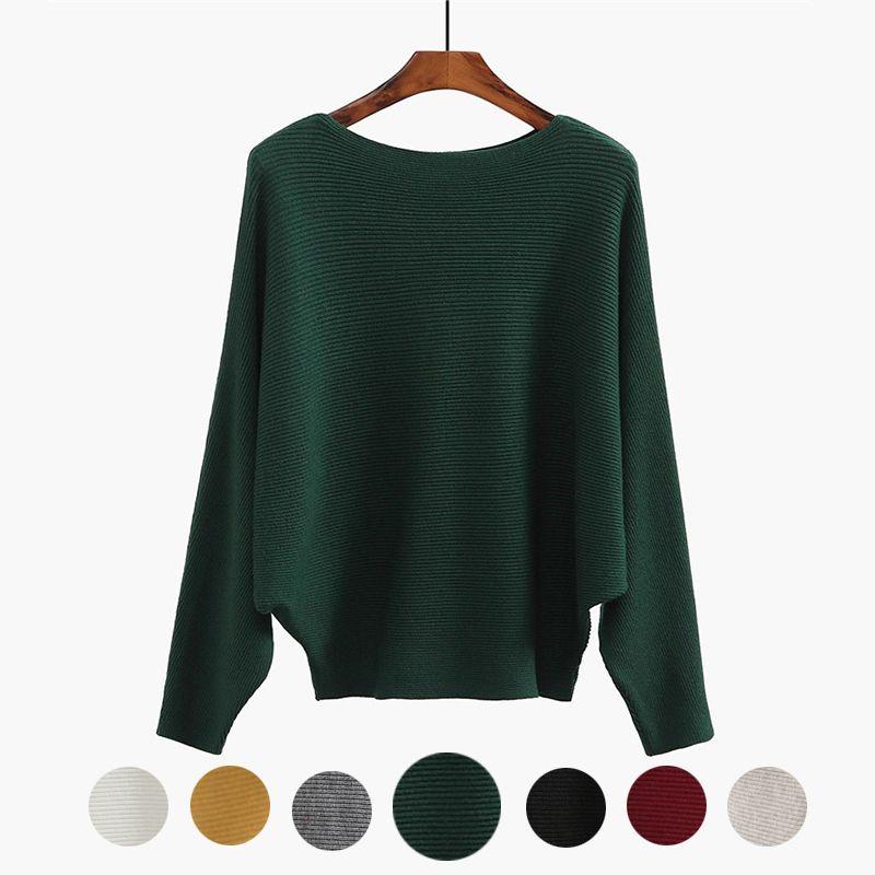 the best attitude 95a10 3cd4a Maglione Batwing invernale Pipistrello femminile Jersey Maglione verde  oversize Maglione donna oversize lavorato a maglia Donna Top 7 colori