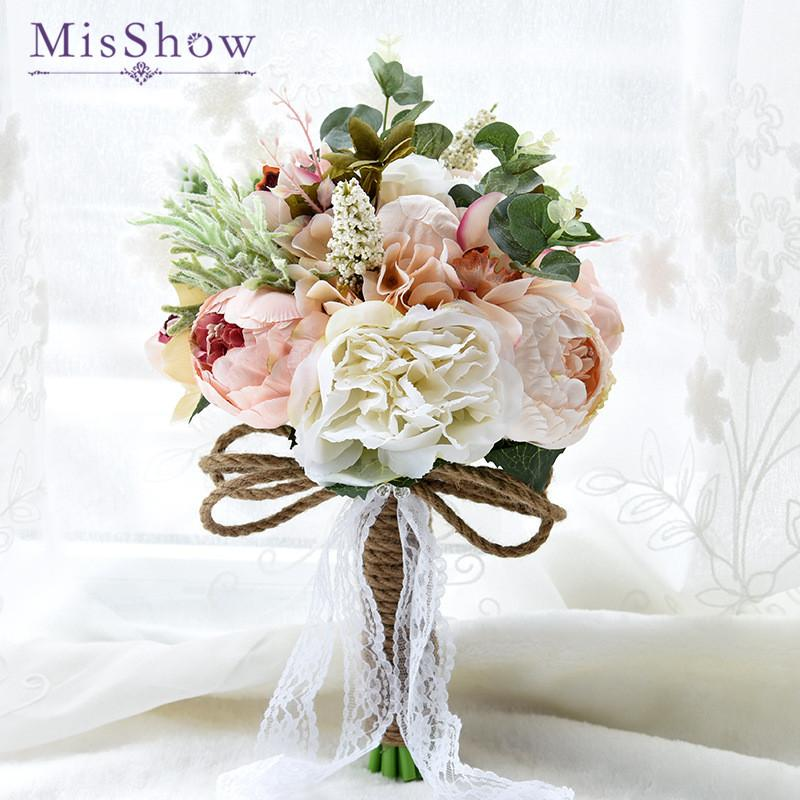 New 2018 Purple White Wedding Bouquet Handmade Artificial Flower