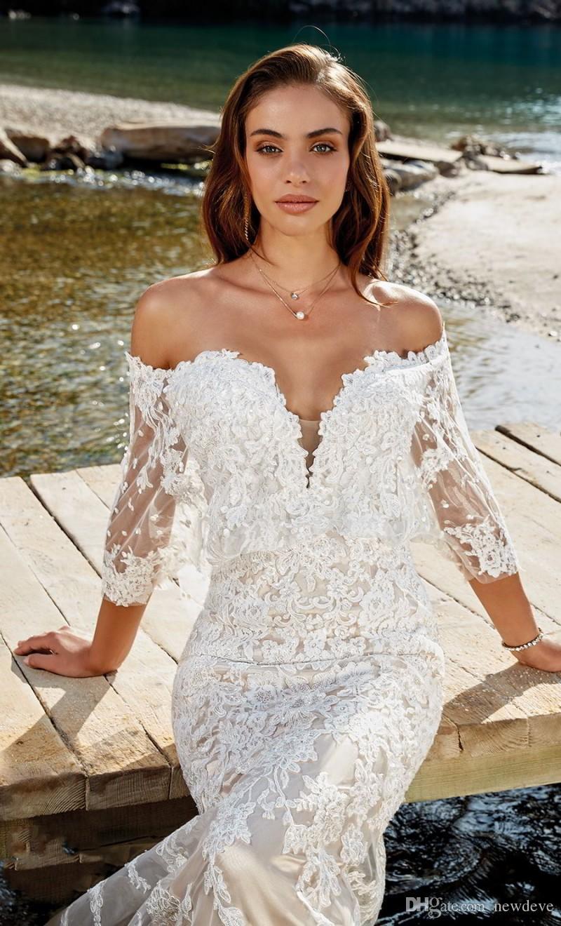 Abito da sposa a sirena Eddy K con spalle scoperte Robe De Mariee Beach 2018 Abiti da sposa Abiti da sposa