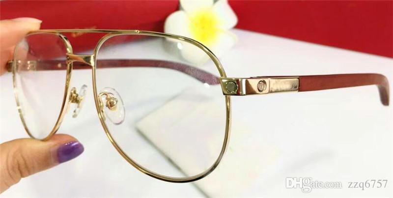 792aa0cae78c 2019 2018 New Fashion Designer Optical Glasses 8101029 Retro Pilot Metal  Frame Wood Legs Vintage Fashion Style Clear Lens From Zzq6757