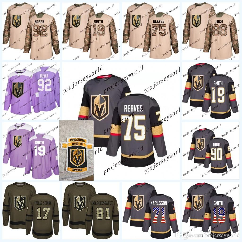 75 Ryan Reaves Vegas Golden Knights 61 Mark Stone 19 Reilly Smith 92 Tomas  Nosek Fights Cancer Veterans Day USA Flag Hockey Jersey UK 2019 From ... f361c4c25