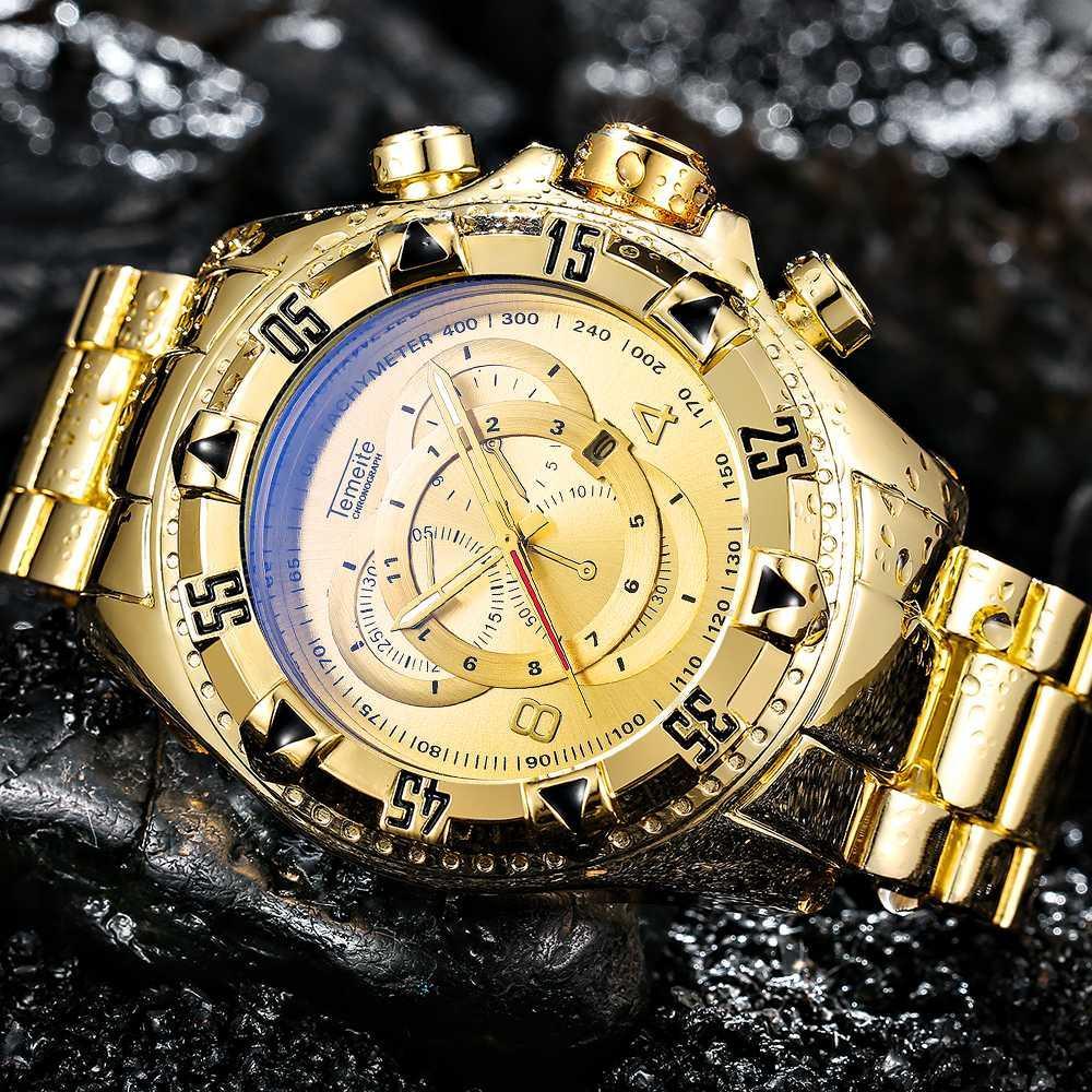 0f35c1ab26f Compre TEMEITE Esporte Dourado Dos Homens Grandes Relógios Top Marca De Luxo  3D Dial Blue Ray Espelho Calendário Moda Masculina De Quartzo Relógios De  Pulso ...