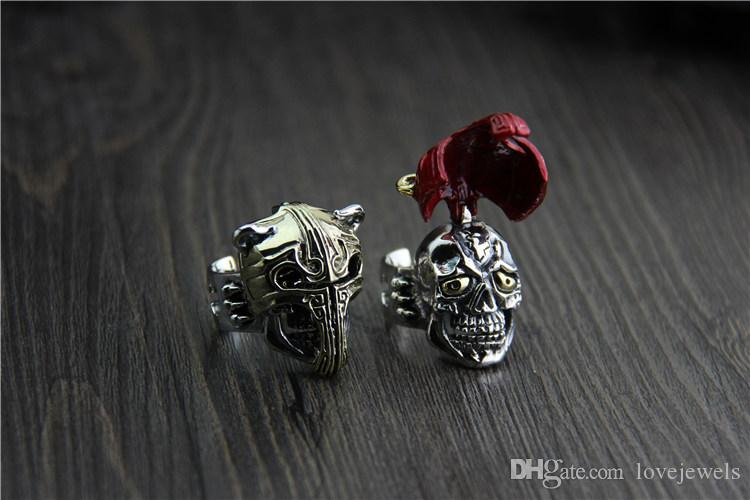 925 sterling silver ring original design Thailand unique personality exaggerated domineering fake face knight ring mens hip hop jewelry